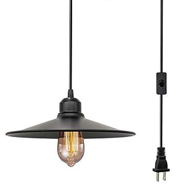 Farmhouse Plug in Pendant Light, Black Cage Pendant Light, Industrial Pendant Lighting, Geometric Light Fixtures, Plug in Hanging Light, Hanging Pendant Lights for Kitchen/Room/Dinning/Bar (1 Pack?
