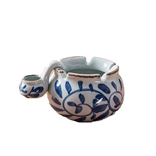 Demarkt Cenicero de cerámica para Puros con diseño marroquí, Azul, Blanco y Azul, 11 * 7.5cm