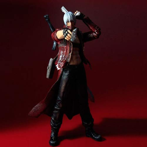 DMCMX Devil May Cry 3 Action Game Modell DMC Dante Sparta Son Demon Hunter Ebony And Ivory Weiß Nirvana Rebellious Körper bewegliche Gelenk Static Desktop-Dekoration PVC-Material 25cm