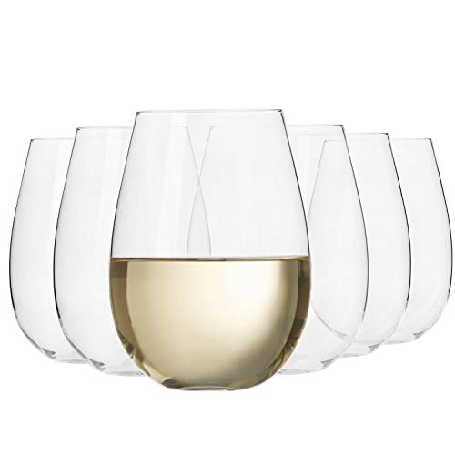 Krosno Bicchieri Calice da Vino Bianco Vetro Senza Stelo | Set di 6 | 500 ML | Collezione Harmony | Ideale per la Casa, Ristorante Feste e Ricevimenti | Adatto alla Lavastoviglie