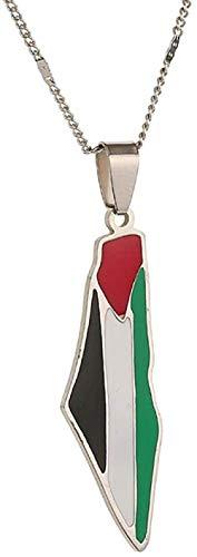 YZXYZH Collar con Colgante De Mapa De Palestina De Acero Inoxidable, Joyería Judía Esmaltada, Joyería De Disfraz De Mapa De Israel Collar