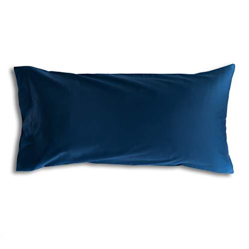 bo&button® Kissenbezug 40x80 cm, einzeln, Mako Satin Bio Baumwolle - echte Luxusqualität, Navy/Dunkelblau/Marineblau