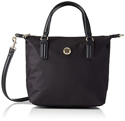 Tommy Hilfiger Poppy ST Small Tote, BDS, OS, Bolso para Mujer, Black, One Size