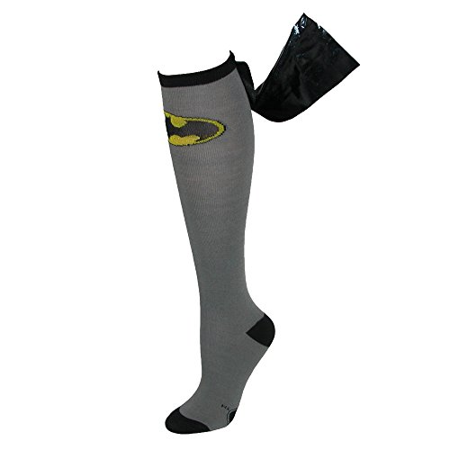 DC Comics Batman Shiny Cape Black & Gray Knee High Socks