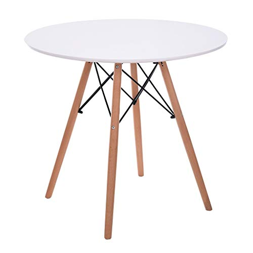 Modern Simple Round Dining Table, ChainSee Round Coffee Table Leisure Wooden Tea Table, Multi-Function Office Negotiating Table, Stable Small Tea Table with Durable Wooden Table Legs (White)