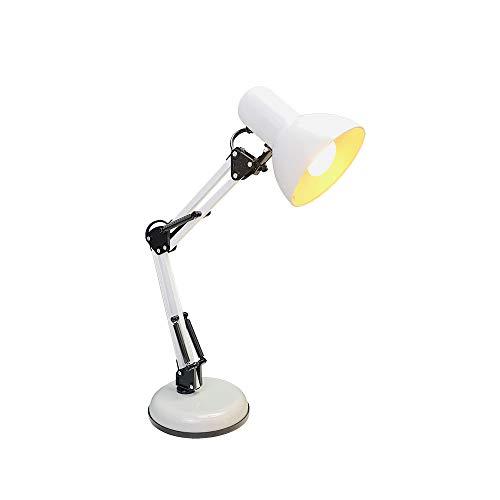 DA LIGHT Retro Tischlampe mit gelenkarm aus Metall, 5.5W LED E14 inkl, Schreibtischlampe Nachttischleuchte Leselampe, Weiß