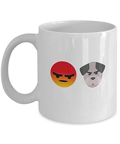 N\A Regalos para los fanáticos de los Emojis: Emoji de 'Perro Loco', emoticonos, Humor Emoji, Divertido, Taza Blanca, Taza de café de cerámica