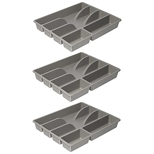 Ikea SMACKER Besteckkasten, grau, 5 Fächer, 31 x 26 cm, 3er-Set