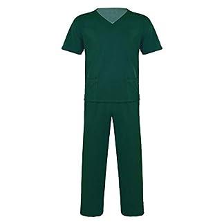 TiaoBug Uniforme Sanitario Conjunto Elástico Traje Uniforme de Trabajo Casaca Pantalon Unisex Disfraz Médico Laboratorio Enfermera Cirugía Hombres Mujeres