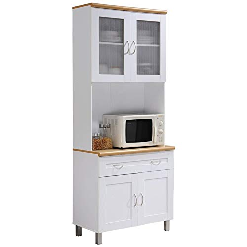 "Pemberly Row Tall 32"" Wide China Kitchen Cabinet with Microwave Storage in White"