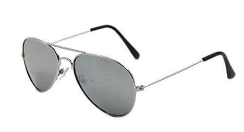 ASVP Shop Kinder Pilotenbrille, Silber verspiegelte Gläser, Sonnenbrille, UV 400, fürJungen Mädchen Kinder Gr. M, silber