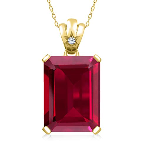Gem Stone King 18K Yellow Gold Plated Silver Red Created Ruby Pendant Necklace For Women 20.05 Ct Emerald Cut 18X13MM with 18 Inch Silver Chain