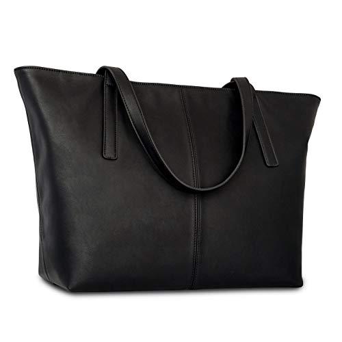 Handtasche Damen Groß Schwarz - Expatrié Manon Große Schultertasche aus veganem Leder - Shopper Ledertasche Umhängetasche - Elegante Damenhandtasche Kunstleder mit vielen praktischen Fächern für