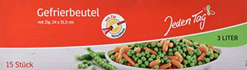 Jeden Tag Gefrierbeutel mit Zip 3l, 15 Stück, 203 g