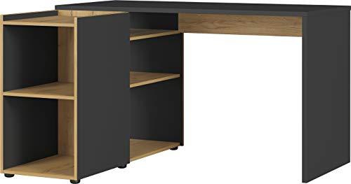 Germania Schreibtisch 2974-549 GW-AUSTIN, in Graphit/navarra-Eiche-Nachbildung, integriertes Sideboard mit offenen Fächern, 129x76x107 cm (BxHxT)