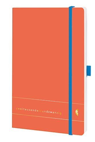 Chronoplan 50451 Buchkalender Kalendarium 2021, A5 Softcover, Wochenplaner (135x210mm, 1 Woche auf 2 Seiten), Elementary, Lux Coral