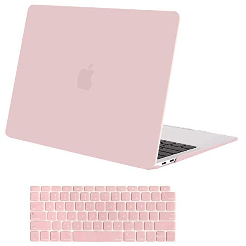 MOSISO MacBook Air 13 inch Case 2019 2018 Release A1932 with Retina Display, Plastic Hard Shell Case & Keyboard Cover Skin Only Compatible with MacBook Air 13 with Touch ID, Rose Quartz