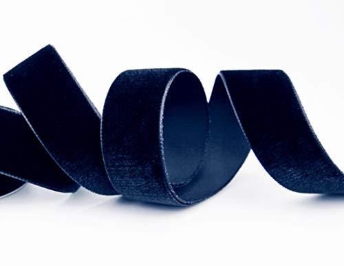 finemark Elastisches Samtband Dunkelblau (590) 1 m x 22 mm METERWARE Stretch Velour extrem dehnbar einseitig Samt 20% Elasthan zum nähen