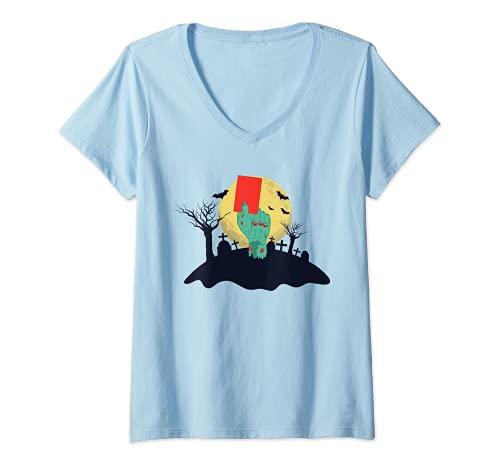 Mujer Zombie Mano Con Tarjeta Roja Divertido Disfraz De Halloween Camiseta Cuello V