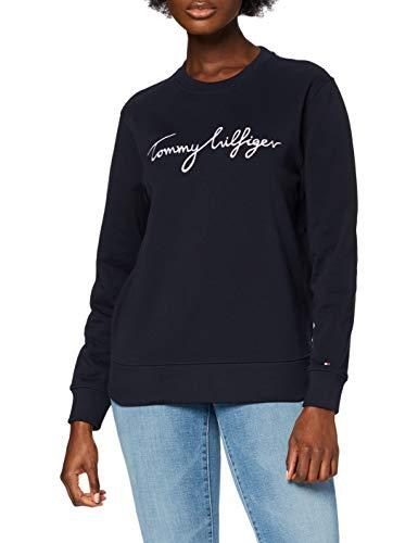 Tommy Hilfiger Regular Graphic C-NK Sweatshirt Sudadera, Blue, XS para Mujer