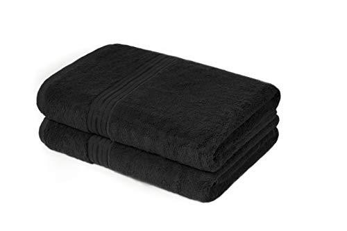 True Feelings - Badetücher 2er Set - 70 x 140cm - Texture 100{52706134ef61101a7f1b06ec204a13b695cc66d044d4e83045c12ca1745ec85c} Baumwolle - Premium Qualität (Schwarz)