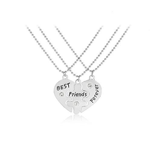 JIEERCUN 3 Piezas/Conjunto de nuevos Regalos de joyería de Amigos Tres pétalos, corazón Roto en Forma de corazón, Mejor Amigo para Siempre Collares Mujer (Color : Silver)