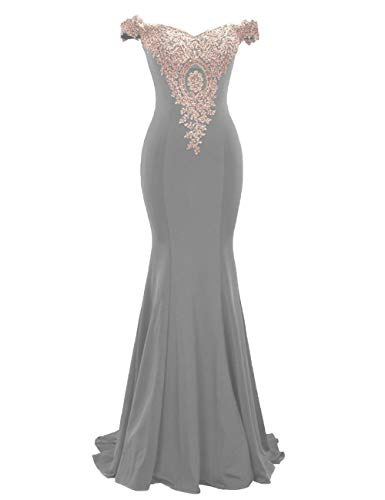 Cdress Satin Prom Dress Mermaid Long Evening Gowns Appliques Off Shoulder Party Formal Dresses US 28W Grey