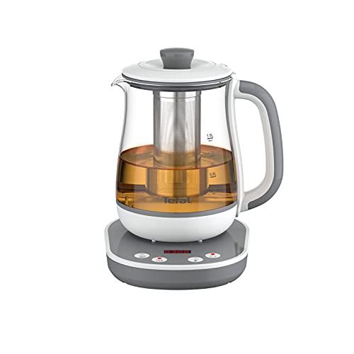 Tefal Tastea - Máquina de té, 8 ajustes de temperatura, capacidad de 1,5 L, cesta de té extraíble de acero inoxidable, mantiene caliente, cuerpo de cristal resistente, base autónoma 360° BJ551B10
