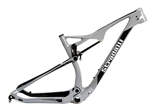 Stradalli Full Carbon Dual Suspension Cross Country XC 29er Gray Edition Mountain Bike Frame - 19'