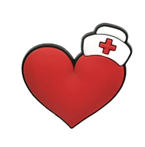 Pin Zuecos Chanclas Charm   Diseño Unisex Corazón Enfermera crocs