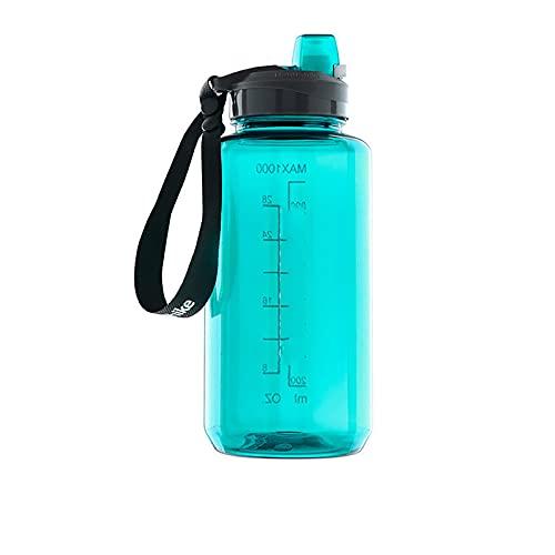 Botellas deportivas de 750 ml 1000 ml botella de agua portátil deportes viajes sin BPA beber hervidor de agua ciclismo (tamaño: L; Color: azul real)