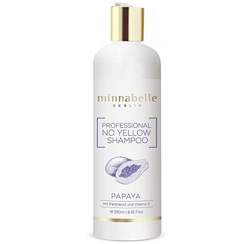 Silbershampoo Made in Germany, No Yellow Silver Shampoo mit Panthenol und Vitamin E, Silber-Grau-Aschblond-Tönung ohne Sulfate und Parabene, Anti-Gelbstich Haare, Abmattierung Blond, Papaya, 250ml