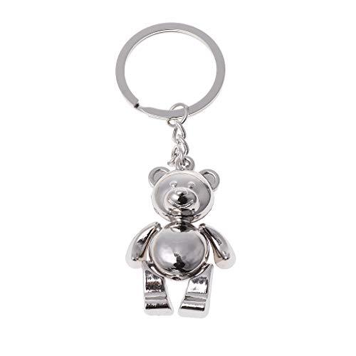 Y-QUARTER Fashion Keyring Keychain Metal Movable Bear Keychain 3D Animal Kering Women Car Handbag Charm Accessoryfor Girls Boys New Year,Birthday Gifts