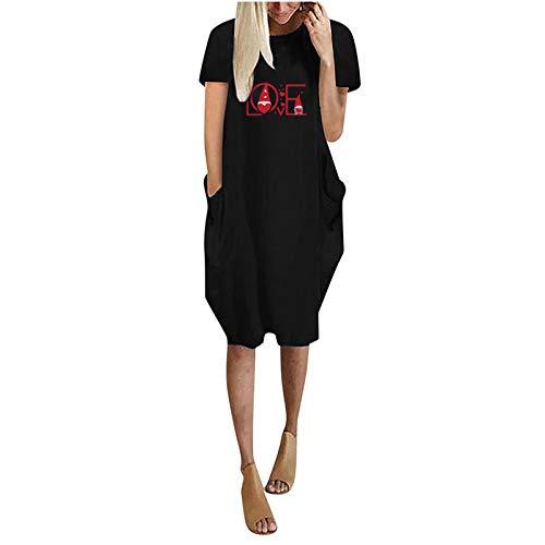 YANFANG Vestido de Cuello Redondo con Bolsillo Lateral hasta Rodillas de Manga Corta Informal con Estampado de Amor de Moda de Verano para Mujer
