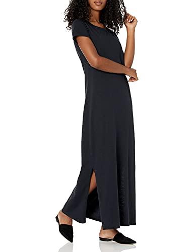 Daily Ritual Lived-In Cotton Short-Sleeve Crewneck Maxi Dress, Negro, US M (EU M - L)