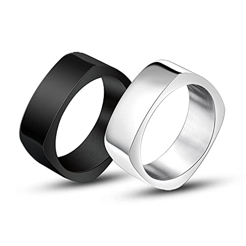 LINYIN Square Ring Diamond-Shaped Men's Silver Black Ring Accessories Men And Women Couple Couple Rings SilverBeauty11