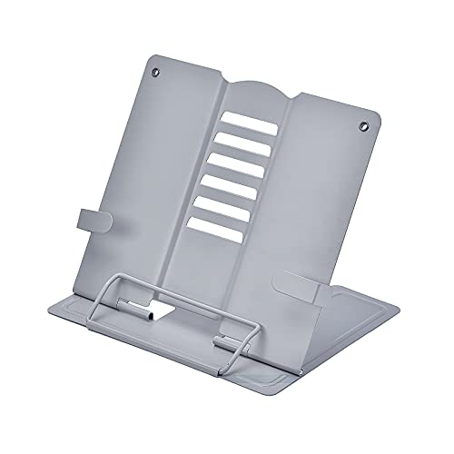 Shoccolt Book Holder Book Stand for Reading in Bed Desktop Textbook Holder Display Document Stand Cookbooks Textbook Recipe Stand Keyboard Sheet Music Stand (Grey)