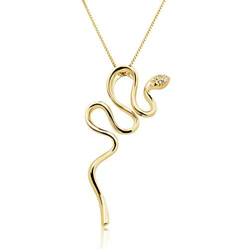 Collar Mujer Pendiente Oro y Diamantes - Oro Amarillo 9 Quilates 375 ♥ Diamantes 0.02 Quilates - Cadena de malla Veneciana 42 cm - Joy Collection