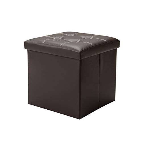 FINDYU Storage Footrest, Folding Portable Compact Small Table Hallway Change Shoes Stool Comfortable Lightweight PU Leather Footstool (Color : Dark Brown)
