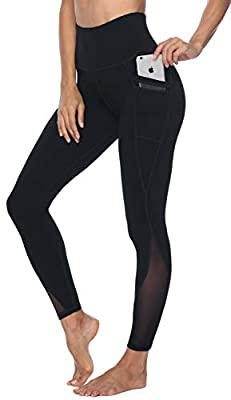 Persit Yoga Pants for Women with Pockets High Waisted Black Mesh Workout Leggings Athletic Gym Fabletics Soft Yoga Leggings - Black - L