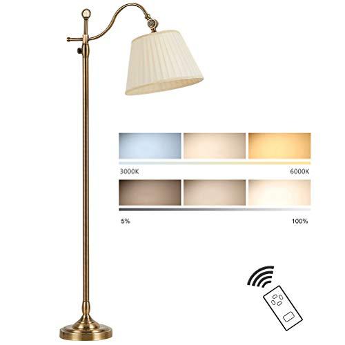 GUSICA Luz de Piso Retro Salón, Lámpara de Pie 12W LED Regulable con Mando a Distancia, Luz de Lectura con Sincronización y Ángulo Ajustable, Lámpara de Suelo para Dormitorio, Estudio y Oficina