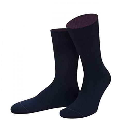 Von Jungfeld Herrensocken uni Farben Basic Socken (42-44, Lochness-Blau)