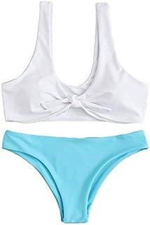 SOLY HUX Women's Tie Knot Front 2PCS Push Up Bikini Sets Beachwear Swimsuit White & Blue Large [並行輸入品]