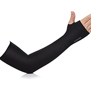 7-Mi 1 Pair Sports Compression Arm Sleeve Black UV Protection Cooler For Men & Women Hand & Arm Cover Sleeves Warmer Arm Support