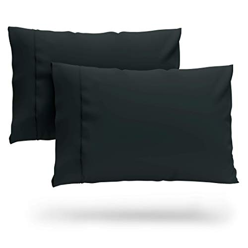Cosy House Collection Premium Bamboo Pillowcases - Standard, Black Pillow Case Set of 2 - Ultra Soft & Cool Hypoallergenic Blend from Natural Bamboo Fiber