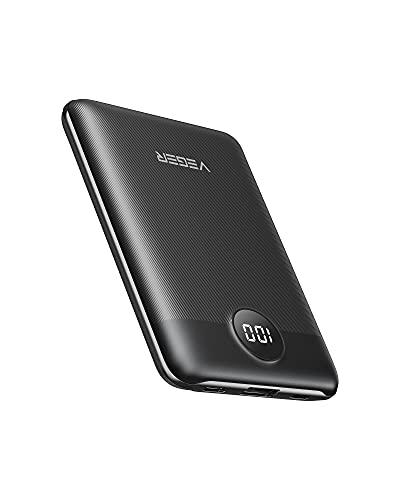 VEGER Power Bank 10000mAh USB C Mini Caricabatterie Portatile da 5V 3A con LED Digitale Display Batteria Esterna Portatile con 2 ingressi e 2 uscite compatibile con Smartphone