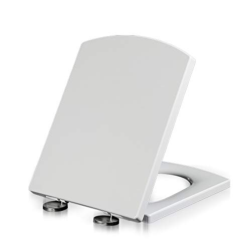 XQHD Toilet Seats Soft Close White, Loo Lid Quick Release Heavy Duty Easy to Clean Bathroom Lid,Square