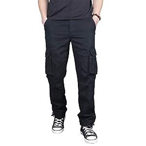 カーゴパンツ メンズ 作業着 ワークパンツ 多機能 ミリタリー ズボン ロングパンツ 6ポケット (ブラック, L)