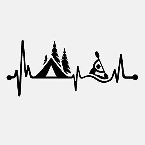 BLOUR Dawasaru Camping Zelt Kajak Herzschlag Auto Aufkleber Personalisierte Abziehbilder Koffer LKW Motorrad Auto Zubehör PVC, 15cm * 6cm
