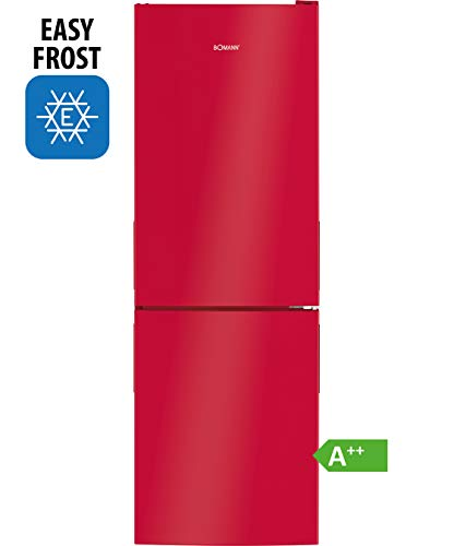 Bomann Kühl-/Gefrierkombination KG 7319 / Easy-Frost / 157 Liter Nutzinhalt / LED-Beleuchtung / Wechselbarer Türanschlag / rot